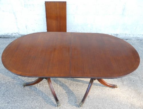 Antique Regency Style Mahogany Twin Pillar Extending Dining Table by Glenister - SOLD